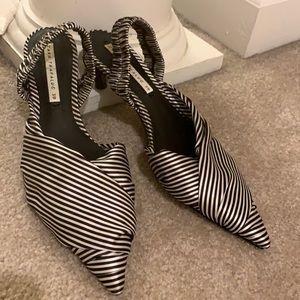 Zara satin black and white striped sling backs.